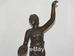 03f23 Paire Ancienne Statue Régule Femme Art Nouveau Art De Peinture Et Musique