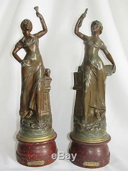 04c1 Paire Statue Régule Femme Art Nouveau Peinture Et Sculpture Signe Guillemin