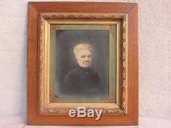 04f15 Ancien Cadre Barbizon Lauriers Stuc Dore Avec Portrait Femme Flandres 1914