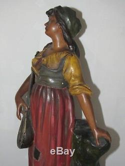 09e1 Ancienne Statue Pltre Polychrome Mignon Femme A La Mandoline Art Nouveau