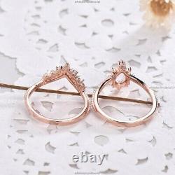 14k or Rose Alexandrite Diamant Mariage Set Art Déco Fiançailles Bague Femme
