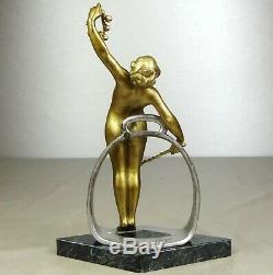 1880/1900 Geo Wagner Tr. Rare Statue Sculpture Art Nouveau Bronze Dore Femme Nue