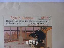 1897 Georges DE FEURE carte voeux ART NOUVEAU femme à la lecture