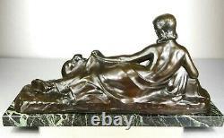 1900 A Foretay Rare Grd Statue Sculpture Art Nouveau/deco Bronze Femme Nue Singe