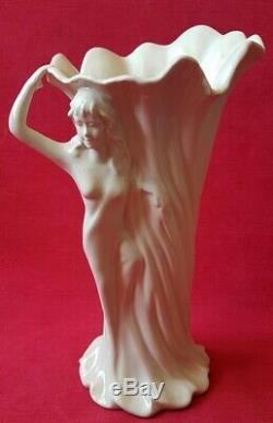 1900 Art Nouveau Vase en Gres emaillé de Femme dénudée ancien Hubert Olivier
