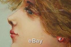 1900 Hst Madame Ballet Gallifet Portrait Femme Art Nouveau Signee Datee France