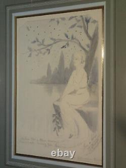 1900 SUPERBE JEUNE FILLE À L'ARBRE ART NOUVEAU Nature Beauté Femme Lac Paysage