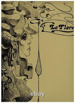 1965 Dessin original Le Moult Le Flore Femme symbolisme Mode Art Nouveau unica