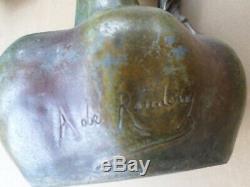 2 Vases-métal patiné bronze -ART NOUVEAU-femme-Signé A. De Raudery- Jugendstil