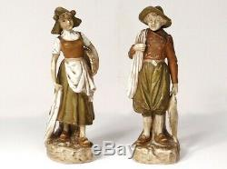 2 personnages porcelaine Royal Dux Bohemia femme pêcheur Art Nouveau XIXème