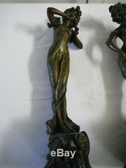 2 superbes statues Femmes art nouveau bronze regule Désire Grisard né en 1872