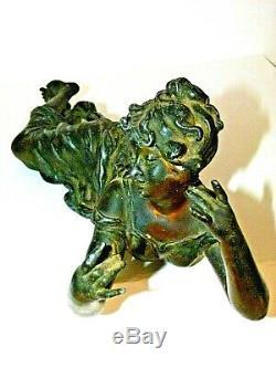 398 Femme allongée 1900 Art Nouveau Lampe Régule joueuse flute regule