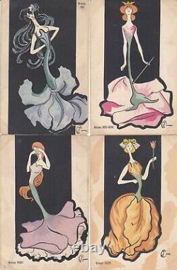 4% Illustrateur Art Nouveau Femmes Fleurs 1900 Caricature Stylisees 6 Cp
