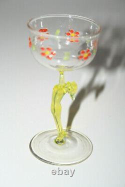 4 X Multicolore Verre à Liqueur Art Nouveau Emailfarben Femme Nu Bimini Érotique