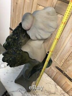 85cm Aristide de Ranieri Terre Cuite de Charenton Buste Art Nouveau Femme Paon
