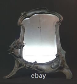 AA 1900 art nouveau très beau miroir à poser 45cm glace cadre étain femme fleur