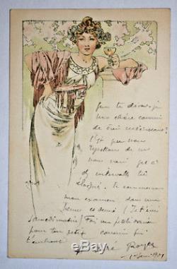 ALPHONSE MUCHA Carte Postale Originale ART NOUVEAU Femme Champagne Menu CPA 1901