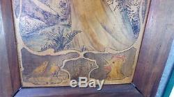 ANCIEN PANNEAU BOIS FEMME ART NOUVEAU signé P Rotin 1917 style Mucha Jugendstil