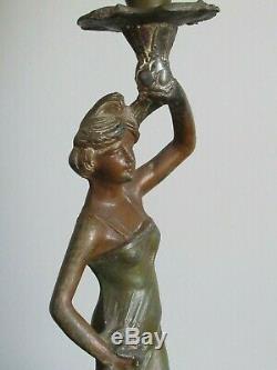 ART NOUVEAU Ancienne Lampe a Pétrole femme Signé RUCHOT réservoir émaillé