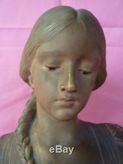 ART NOUVEAU BUSTE de FEMME en TERRE CUITE signé E. Drouot