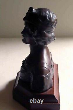 ART NOUVEAU BUSTE de JEUNE FEMME BRONZE signé Gustave VAN VAERENBERGH
