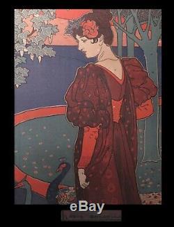 ART NOUVEAU RHEAD (Louis John) Lithographie La Femme aux paons. 1897