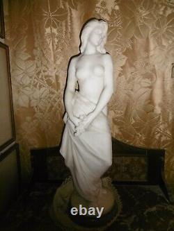 ART NOUVEAU SUPERBE & RARE STATUE MARBRE BLANC Henri ALLOUARD FEMME DÉNUDÉE