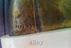 ART NOUVEAU ancien BUSTE DE FEMME, biscuit et bronze, signature a identifier
