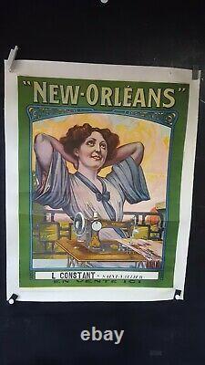 Affiche Machine A Coudre New Orleans Femme Art Nouveau
