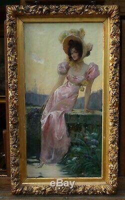 Alb MATIGNON(1869-1937), femme élégante iris, robe, chapeau, art-nouveau, modern styl