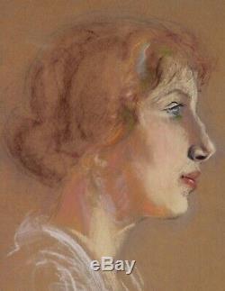 Albert BESNARD dessin pastel portrait femme rousse profil Art Nouveau tableau