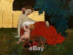 Albert BESNARD tableau huile Maternité femme enfant feuille or ART NOUVEAU 1900