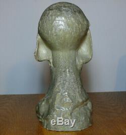 Alexandre BIGOT Magnifique Buste de femme en grès Art Nouveau Jugendstil