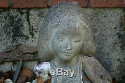 Alexandre Bigot Magnifique Buste en grès d'une jeune femme Art Nouveau
