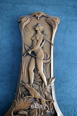 Alfred Daguet Superbe Baromètre En Bois Art Nouveau Scène De Chasse Femme Nue
