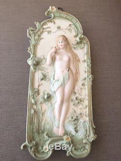 Ancien Allemand Bisque Facing Décorations Murales Plaques Nue Femmes Art Nouveau