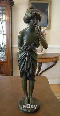 Ancien Art Nouveau Bronze Partiel Femme Nue Odorat Fleur Signé Reyam c1900