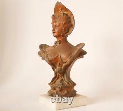 Ancien Art Nouveau Femme Bronze Spelter Statue Buste Villanis Style C. 1900 #2