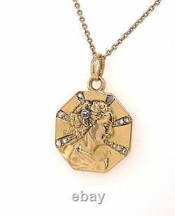 Ancien Art Nouveau Femme Diamant 18K or Jaune Pendentif Signé