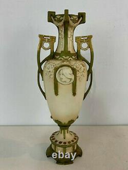 Ancien Art Nouveau Royal Dux Autrichien Poterie Vase W / Femme Visage Décoration