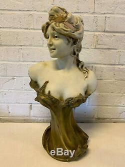 Ancien Art Nouveau Royal Dux Bohemia Porcelaine Buste de Fille/ Femme