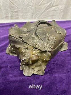 Ancien Coffret À Bijoux Art Nouveau En Régule Décor Femme Fleur Jugendstil 1900