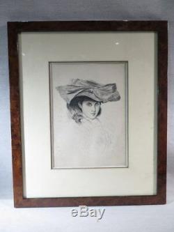 Ancien Dessin A La Plume Jeune Femme Elegante Au Chapeau Epoque 1900