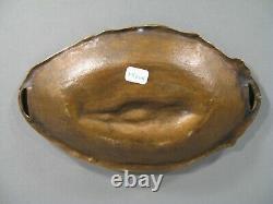 Ancien Grand Vide-poches Bronze Style Art Nouveau Decor Jeune Femme Nue Fleurs