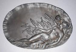 Ancien Plateau En Bronze Femme Nue Et Enfant Signe Emile Vernier Art Nouveau