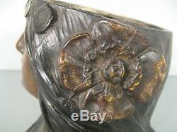 Ancien Pot A Tabac Epoque 1900 Style Art Nouveau Orientaliste Femme Fleur