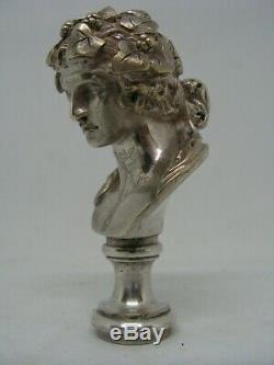 Ancien Sceau Cachet En Bronze Argente Art Nouveau Xixeme Femme Fleurs