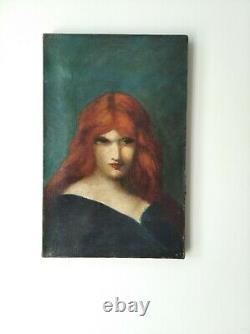 Ancien Tableau Portrait De Femme Rousse Vers 1900