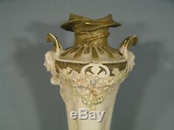 Ancien Vase Style Art Nouveau Femme Fleur Epoque 1900 Royal Dux Bohemia