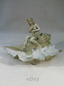 Ancien Vide Poche Art Nouveau Jeune Femme Nue Coquillage Allemagne Porcelaine